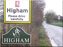TQ7072 : Higham Village Sign by David Anstiss