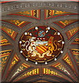 SJ8398 : Coat of arms of Manchester under Town Hall tower by David Hawgood