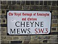 TQ2777 : Road Sign Cheyne Mews by PAUL FARMER