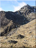 SH6254 : View of Y Gribyn and Snowdon/Yr Wyddfa from the Pyg Track. by John S Turner