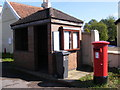 TM1245 : Sproughton Bus Shelter &amp; Post Office 9 Lower Street Postbox by Adrian Cable