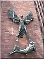 SP3379 : St Michael and the Devil, Coventry Cathedral by E Gammie