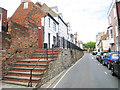 TQ8209 : Raised Pavement & Retaining Wall, High Street, Hastings by Oast House Archive