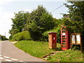 SY9195 : Morden: postbox № BH20 111 and phone, East Morden by Chris Downer