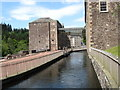 NS8842 : Mill lade and mill buildings at New Lanark by James Denham