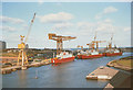NZ4057 : Ships on the River Wear at Sunderland by Stephen Craven