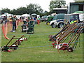TL0960 : Garden tools on display at Bolnhurst Country Show by Michael Trolove