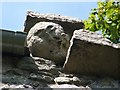 NS3974 : Dumbarton Rock: Carved face on Guard House by Lairich Rig