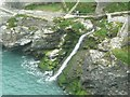 SX0589 : Waterfall, Tintagel Haven by Humphrey Bolton