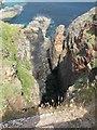 SW3634 : Cliffs below Levant Mine by Sarah Charlesworth