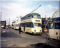 SD3039 : Northbound trams queueing at Bispham by Dr Neil Clifton