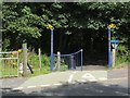 NS4373 : Decorative gateposts on NCN route 7 by Lairich Rig