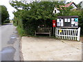 TM3461 : Low Road, Great Glemham Village Notice Board &amp;  Post Office Postbox by Adrian Cable