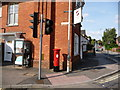 ST8806 : Blandford Forum: postbox № DT11 1 and phone, Park Road by Chris Downer