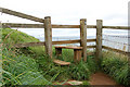 SW9178 : Stile on coastpath above Stepper Point by Andy F