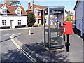 TM3056 : Spring Lane Postbox & Lower Street, Wickham Market by Adrian Cable