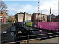 SJ8497 : In the Pink, and other colours at Bridge 87, Rochdale Canal by Peter Barr