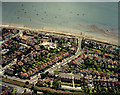 TQ8685 : Aerial view of Southend seafront: Westcliff paddling pool and Crowstone Avenue by Edward Clack