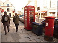 SZ0378 : Swanage: postbox № BH19 124 and phone, High Street by Chris Downer