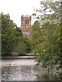 SJ4034 : The Mere and Parish church, Ellesmere, Salop by nick macneill