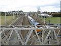 SJ6074 : Railway line looking NW from footbridge by Dr Duncan Pepper