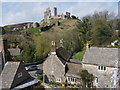 SY9682 : Corfe Castle and cottages from Swanage Railway train : Week 14