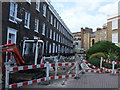 TQ2978 : Roadworks in Bessborough Place, Pimlico by PAUL FARMER
