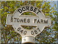 ST6406 : Hilfield: detail of Stone's Farm signpost by Chris Downer