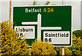 J3560 : The Temple crossroads sign near Carryduff by Albert Bridge