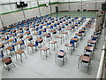 TQ2259 : Exam tables in sports hall, Epsom College by David Hawgood