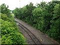SJ3977 : Manchester Ship Canal Railway seen from Merseyton Road bridge by John Brightley