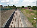 Dist:0.4km<br/>Loop formed recently to allow engines on goods trains to change ends. This loop has been built on the route of the Kilmarnock to Crosshouse rail line which was closed and has been turned into a cycle route. The path continues in the distance from the access ramp on the left of picture.