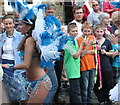 SW7250 : Young and old copping a sneaky look at St Agnes Carnival by Rod Allday