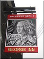 TQ9557 : George Inn, Pub Sign, Newnham by David Anstiss