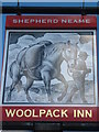 TQ9724 : Woolpack Inn, Pub Sign, Brookland by David Anstiss