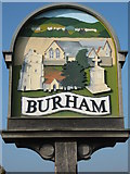 TQ7361 : Close-up of Burham Village Sign by David Anstiss