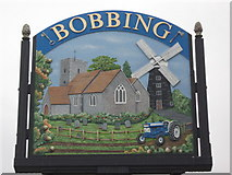 TQ8864 : Close-up of Bobbing Village Sign by David Anstiss