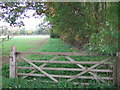 TF1400 : Gate on Castor Road south of Marholm, Peterborough by Richard Humphrey