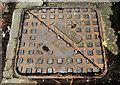J3473 : Ulster Foundries manhole cover, Belfast (2) by Albert Bridge