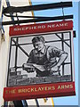 TQ4068 : The Bricklayers Arms, Pub Sign, Bromley by David Anstiss