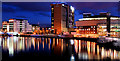 J3474 : The River Lagan, Belfast (at night) by Albert Bridge