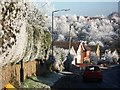 SP2972 : Frost covered hedgerow in Villiers Road by John Brightley