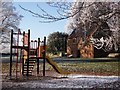 SP2872 : Frosty scene at children's play area, Abbey Fields by John Brightley
