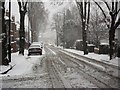 SP2971 : Snow in Priory Road by John Brightley