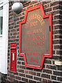 SJ8858 : Postbox and inn sign on the Staffordshire Knot by Stephen Craven