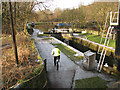 SE0922 : Cyclist at Salterhebble Lock by Stephen Craven