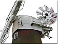 TG4408 : Stracey Arms drainage mill - cap, sails and fantail by Evelyn Simak