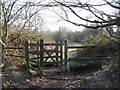 TQ4165 : Kissing gate at the northwest corner of Padmall Wood by Mike Quinn