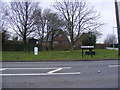 TM4382 : Milepost,Brampton Village sign &amp; Roadsign &amp; Brampton Village Notice Board by Adrian Cable
