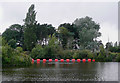 SO8453 : Boom across the River Severn at Diglis, Worcester by Roger  Kidd